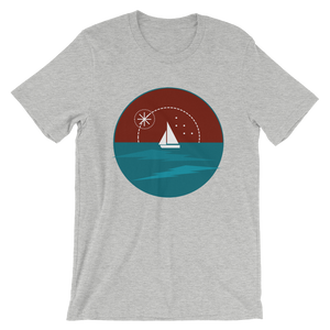 Sunset Unisex T-Shirt, Collection Fjaka-Athletic Heather-S-Tamed Winds-tshirt-shop-and-sailing-blog-www-tamedwinds-com