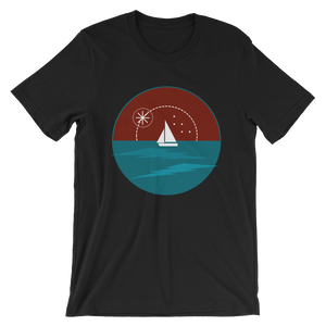 Sunset Unisex T-Shirt, Collection Fjaka-Black-S-Tamed Winds-tshirt-shop-and-sailing-blog-www-tamedwinds-com