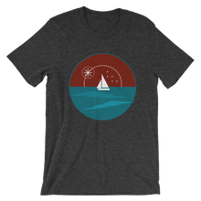 Sunset Unisex T-Shirt, Collection Fjaka-Dark Grey Heather-S-Tamed Winds-tshirt-shop-and-sailing-blog-www-tamedwinds-com
