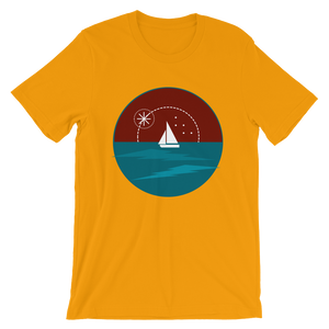 Sunset Unisex T-Shirt, Collection Fjaka-Gold-S-Tamed Winds-tshirt-shop-and-sailing-blog-www-tamedwinds-com