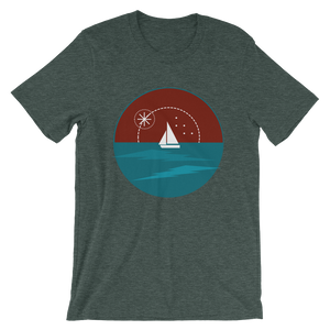 Sunset Unisex T-Shirt, Collection Fjaka-Heather Forest-S-Tamed Winds-tshirt-shop-and-sailing-blog-www-tamedwinds-com