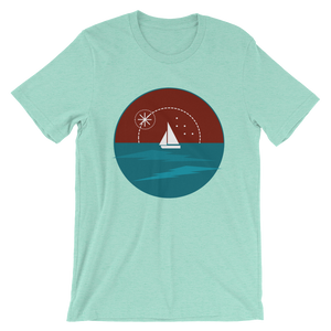 Sunset Unisex T-Shirt, Collection Fjaka-Heather Mint-S-Tamed Winds-tshirt-shop-and-sailing-blog-www-tamedwinds-com