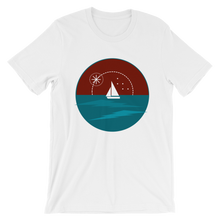 Sunset Unisex T-Shirt, Collection Fjaka-White-S-Tamed Winds-tshirt-shop-and-sailing-blog-www-tamedwinds-com