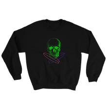 Surfer Skull Unisex Crewneck Sweatshirt, Collection Jolly Roger-Black-S-Tamed Winds-tshirt-shop-and-sailing-blog-www-tamedwinds-com