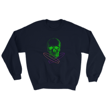 Surfer Skull Unisex Crewneck Sweatshirt, Collection Jolly Roger-Navy-S-Tamed Winds-tshirt-shop-and-sailing-blog-www-tamedwinds-com
