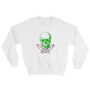 Surfer Skull Unisex Crewneck Sweatshirt, Collection Jolly Roger-White-S-Tamed Winds-tshirt-shop-and-sailing-blog-www-tamedwinds-com