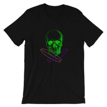 Surfer Skull Unisex T-Shirt, Collection Jolly Roger-Black Heather-S-Tamed Winds-tshirt-shop-and-sailing-blog-www-tamedwinds-com