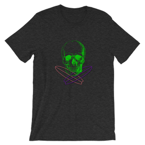 Surfer Skull Unisex T-Shirt, Collection Jolly Roger-Dark Grey Heather-S-Tamed Winds-tshirt-shop-and-sailing-blog-www-tamedwinds-com