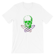 Surfer Skull Unisex T-Shirt, Collection Jolly Roger-White-S-Tamed Winds-tshirt-shop-and-sailing-blog-www-tamedwinds-com