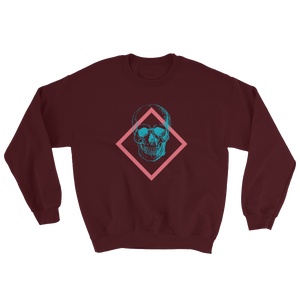 Toxic Skull Unisex Crewneck Sweatshirt, Collection Jolly Roger-Maroon-S-Tamed Winds-tshirt-shop-and-sailing-blog-www-tamedwinds-com
