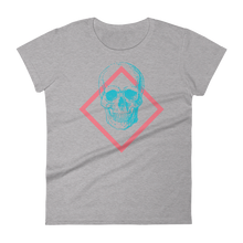 Toxic Skull Women's Round Neck T-Shirt, Collection Jolly Roger-Heather Grey-S-Tamed Winds-tshirt-shop-and-sailing-blog-www-tamedwinds-com