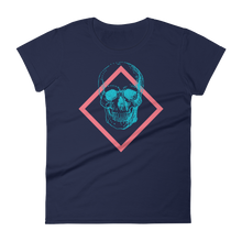 Toxic Skull Women's Round Neck T-Shirt, Collection Jolly Roger-Navy-S-Tamed Winds-tshirt-shop-and-sailing-blog-www-tamedwinds-com