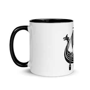 Viking Longship Mug With Black Color Inside 325 ml, Collection Ships & Boats-Tamed Winds-tshirt-shop-and-sailing-blog-www-tamedwinds-com
