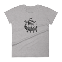 Viking Longship Women's Round Neck T-Shirt, Collection Ships & Boats-Heather Grey-S-Tamed Winds-tshirt-shop-and-sailing-blog-www-tamedwinds-com