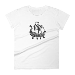 Viking Longship Women's Round Neck T-Shirt, Collection Ships & Boats-White-S-Tamed Winds-tshirt-shop-and-sailing-blog-www-tamedwinds-com