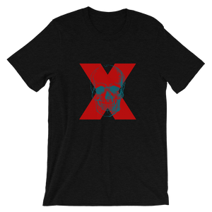X Skull Unisex T-Shirt, Collection Jolly Roger-Black Heather-S-Tamed Winds-tshirt-shop-and-sailing-blog-www-tamedwinds-com