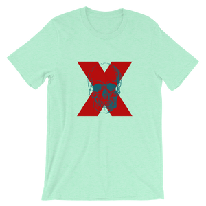 X Skull Unisex T-Shirt, Collection Jolly Roger-Heather Mint-S-Tamed Winds-tshirt-shop-and-sailing-blog-www-tamedwinds-com