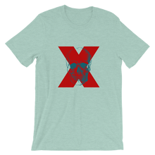 X Skull Unisex T-Shirt, Collection Jolly Roger-Heather Prism Dusty Blue-S-Tamed Winds-tshirt-shop-and-sailing-blog-www-tamedwinds-com