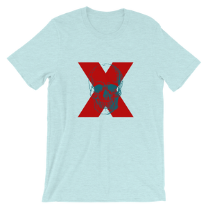 X Skull Unisex T-Shirt, Collection Jolly Roger-Heather Prism Ice Blue-S-Tamed Winds-tshirt-shop-and-sailing-blog-www-tamedwinds-com