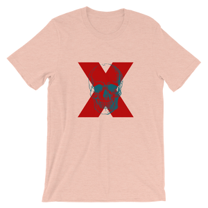 X Skull Unisex T-Shirt, Collection Jolly Roger-Heather Prism Peach-S-Tamed Winds-tshirt-shop-and-sailing-blog-www-tamedwinds-com