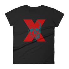X Skull Women's Round Neck T-Shirt, Collection Jolly Roger-Black-S-Tamed Winds-tshirt-shop-and-sailing-blog-www-tamedwinds-com