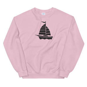 Yacht Unisex Crewneck Sweatshirt, Collection Ships & Boats-Light Pink-S-Tamed Winds-tshirt-shop-and-sailing-blog-www-tamedwinds-com