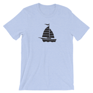 Yacht Unisex T-Shirt, Collection Ships & Boats-Heather Blue-S-Tamed Winds-tshirt-shop-and-sailing-blog-www-tamedwinds-com