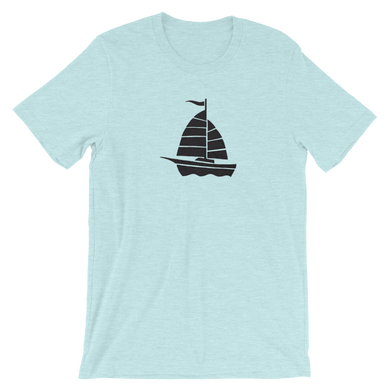 Yacht Unisex T-Shirt, Collection Ships & Boats-Heather Prism Ice Blue-XS-Tamed Winds-tshirt-shop-and-sailing-blog-www-tamedwinds-com