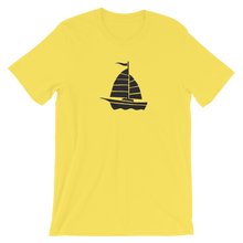 Yacht Unisex T-Shirt, Collection Ships & Boats-Yellow-S-Tamed Winds-tshirt-shop-and-sailing-blog-www-tamedwinds-com