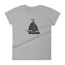 Yacht Women's Round Neck T-Shirt, Collection Ships & Boats-Heather Grey-S-Tamed Winds-tshirt-shop-and-sailing-blog-www-tamedwinds-com