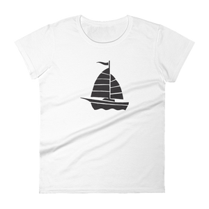 Yacht Women's Round Neck T-Shirt, Collection Ships & Boats-White-S-Tamed Winds-tshirt-shop-and-sailing-blog-www-tamedwinds-com