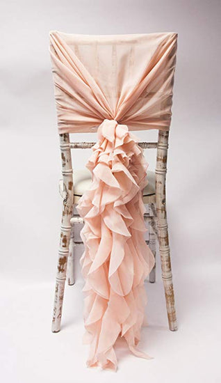 UK, Dorset, Hampshire, event, wedding, decor, decoration, hire, rent, rental Chiffon Hood with Ruffles, Chair, Tiebacks, Ribbon, Decor, Decoration, Wedding, Event, Luxury, Glamorous, Unique, Elegant, Opulent, Beautiful