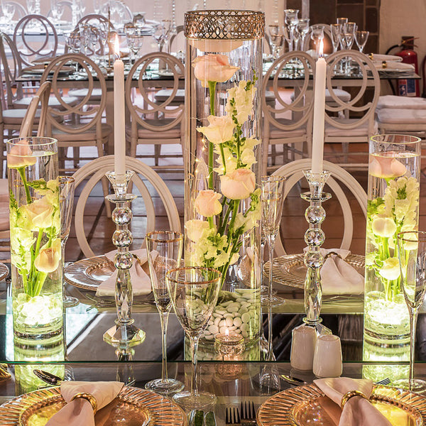 Gold Rim Cylinder Centrepiece - Rectangular Table