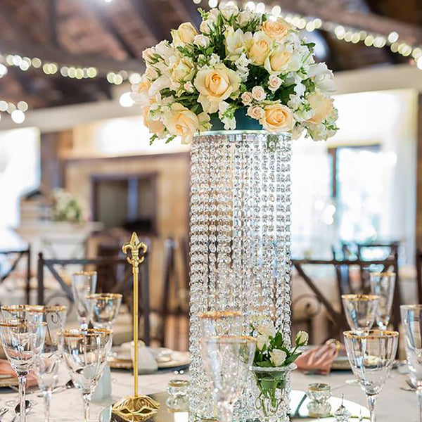 Crystal Cascading Centrepiece - Includes Luxury Silk Flowers