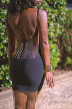 Load image into Gallery viewer, Ayana Black Gold Fringe Bandage Dress