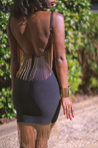 Ayana Black Gold Fringe Bandage Dress
