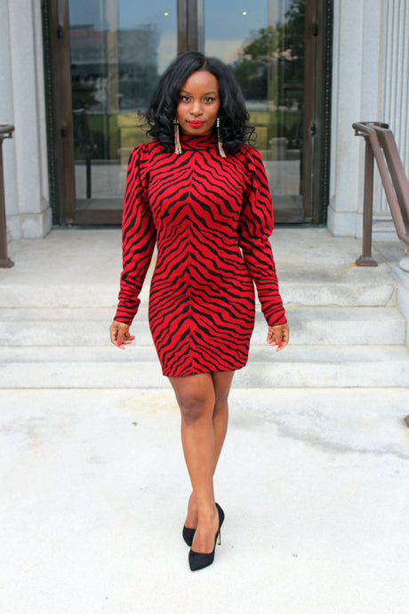 Naomi Red black animal print sweater dress.