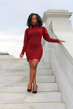 Load image into Gallery viewer, Naomi Red black animal print sweater dress.