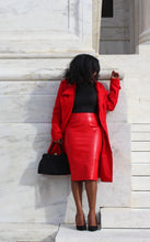 Load image into Gallery viewer, Roxy Red Crocodile Pencil Skirt