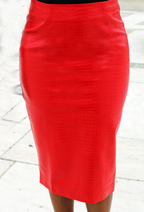 Roxy Red Crocodile Pencil Skirt