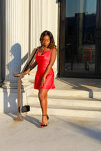 Load image into Gallery viewer, Kayla Red Satin Mini Slip Dress