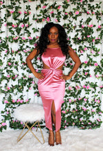 Load image into Gallery viewer, Pink Satin Cutout Dress