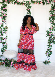 Milady Fuchsia Floral Lace Maxi Dress