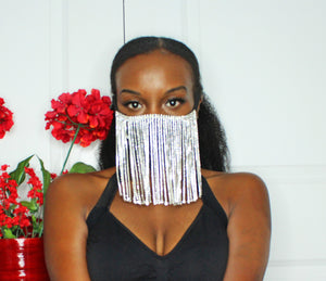 Luxe Nights Rhinestone Fringe Mask