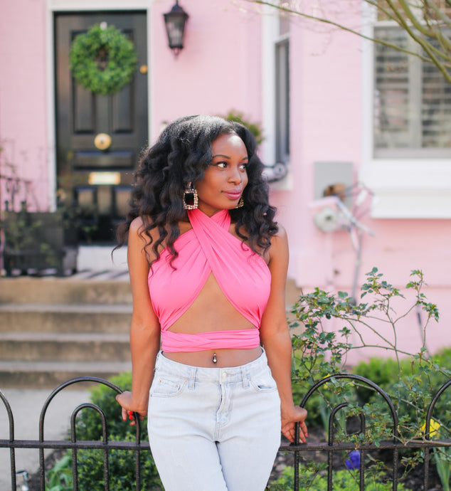 fuschia pink halter top