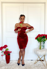 Load image into Gallery viewer, Katira Red Velvet Mesh Dress
