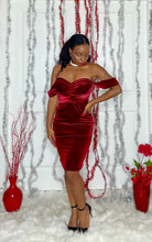 Load image into Gallery viewer, Red Velvet Off Shoulder Dress