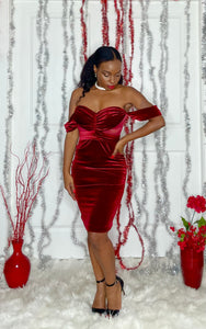 Red Velvet Off Shoulder Dress