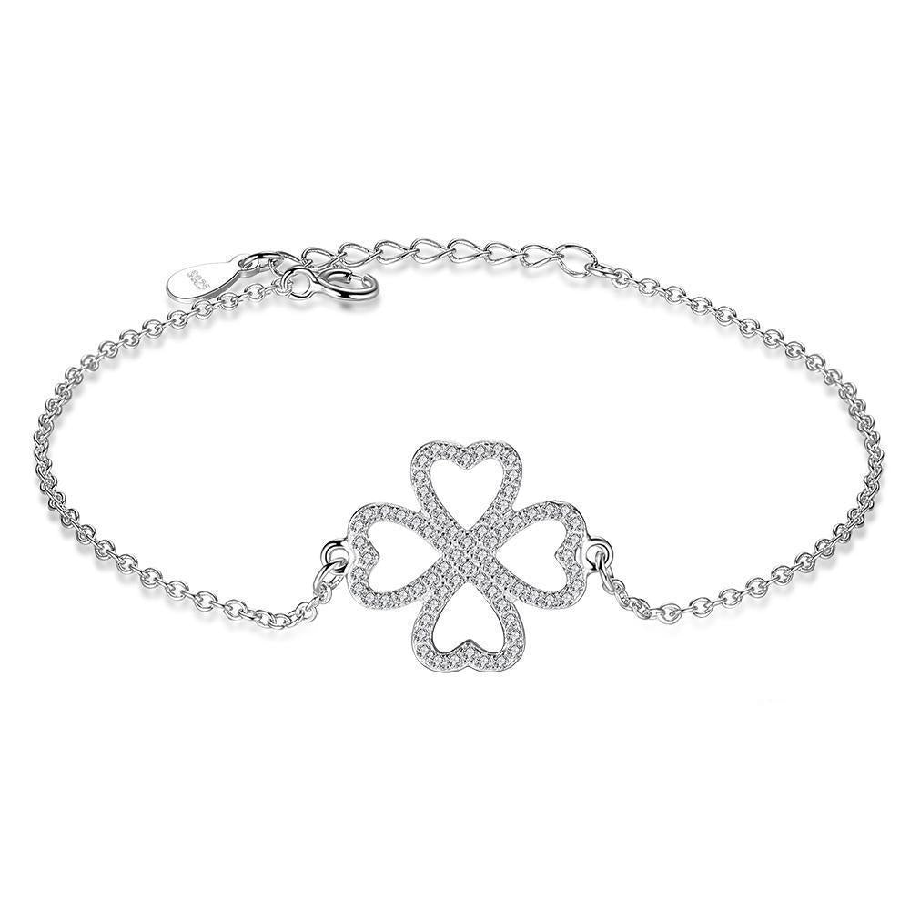 Clover Heart Charm Bracelet For Women and Girl