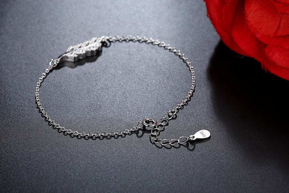Leaf Link Chain Charm Bracelet Bangle for Women
